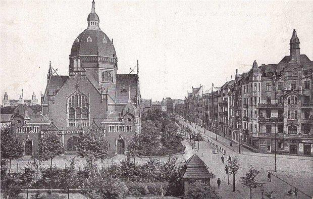 Katowice ul. A. Mickiewicza, Nowa Wielka Synagoga, zdjęcie z lat 1905-1918