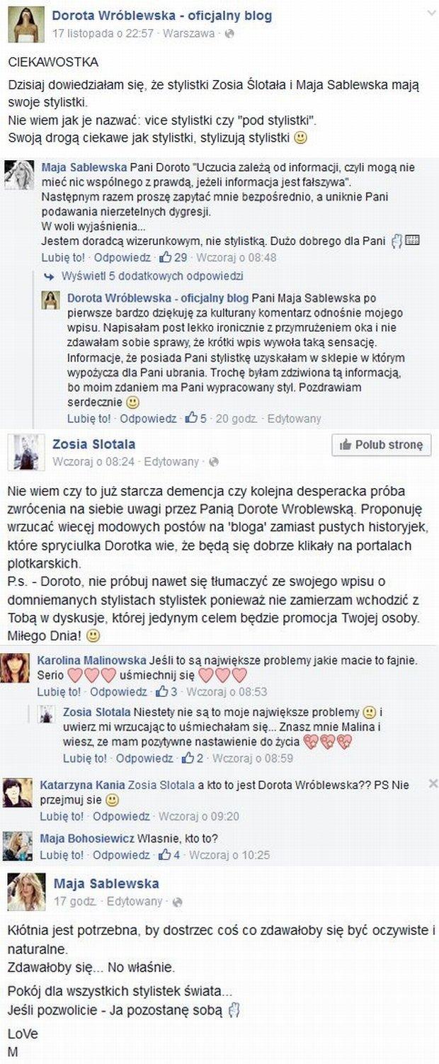 Komentarze na profilach Mai Sablewskiej, Doroty Wróblewskiej i Zofii Ślotały