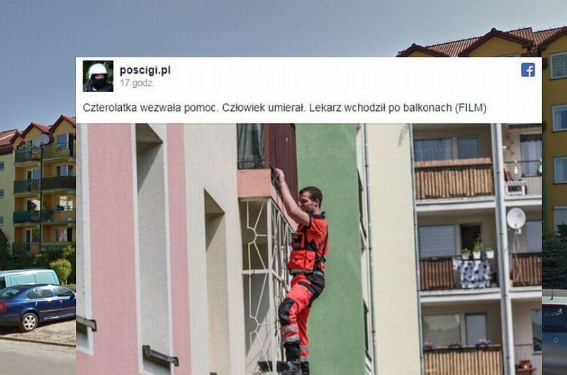 4-latka wezwała pomoc, ratownik wspinał się po balkonie