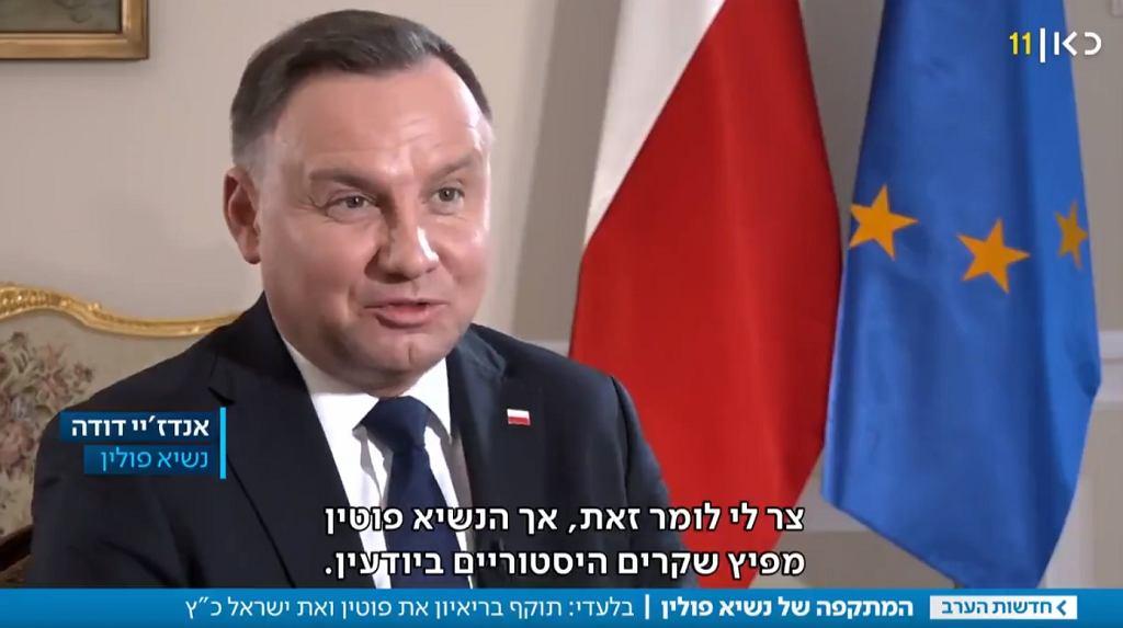 Andrzej Duda w wywiadzie dla izraelskiej telewizji