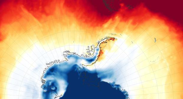 Temperatura powietrza na poziomie dwóch metrów na Półwyspie Antarktycznym