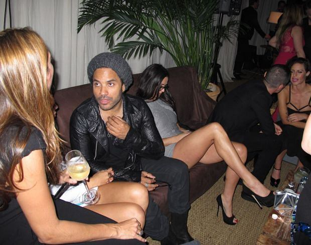 Celebrities at the Soho House tent.  Pictured: Lenny Kravitz, Demi Moore
