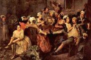 """Historia burdeli, seks, Od średniowiecza do XIX wieku na Zachodzie, William Hogarth """"Orgia w gospodzie"""""""