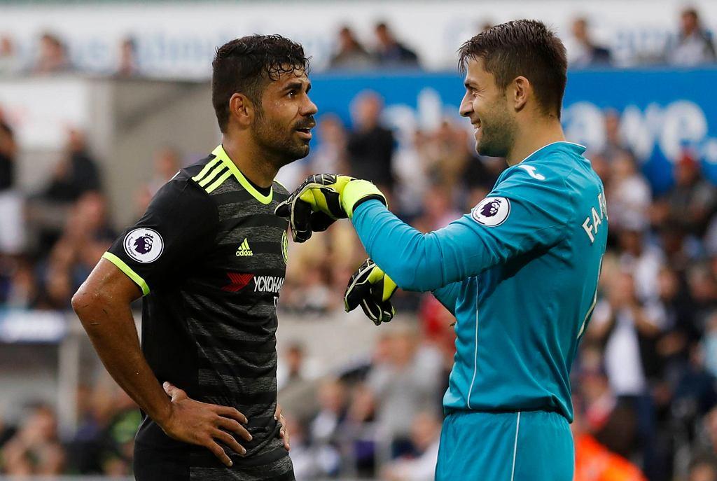 Łukasz Fabiański i Diego Costa. Swansea zremisowała z Chelsea 2:2.