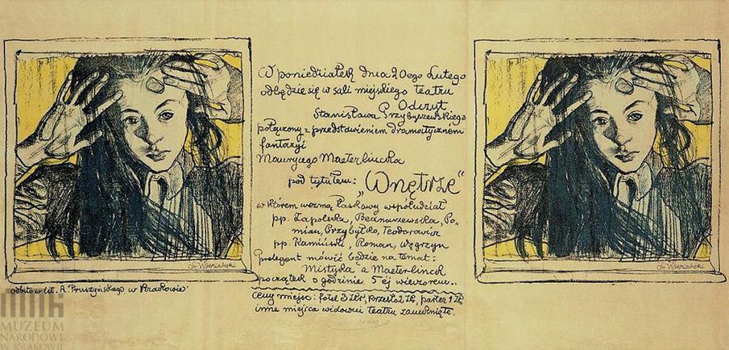 Plakat teatralny 'Wnętrze', który stworzył  Stanisław Wyspiański.
