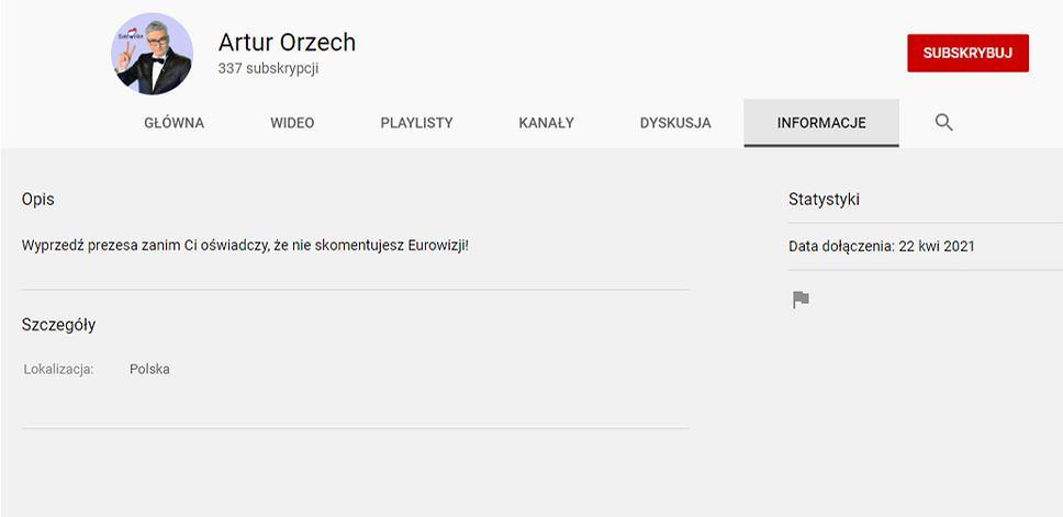 Kanał Artura Orzecha na YouTubie