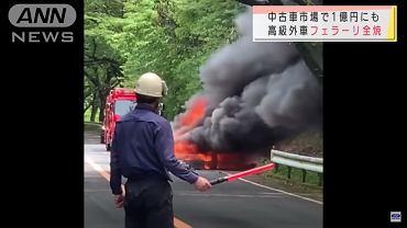 Palące się Ferrari F40 w Japonii