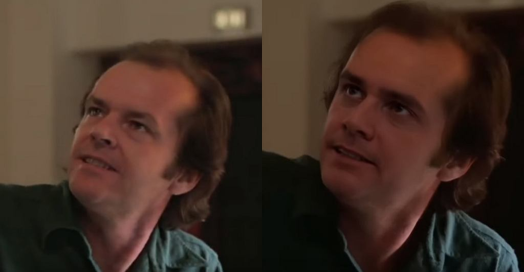 Jack Nicholson w filmie 'The Shining'/Jim Carrey w filmie YouTube 'The Shining starring Jim Carrey : Episode 1 - Concentration [DeepFake]'