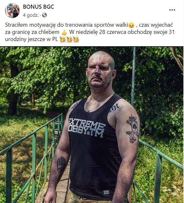 Wpis Piotra 'Bonusa BGC' Witczaka o zakończeniu kariery sportowej i wyjeździe z Polski. Źródło: Instagram