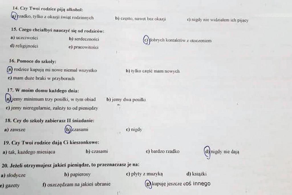 Fragment imiennej ankiety w Szkole Podstawowej nr 6 w Ostrołęce