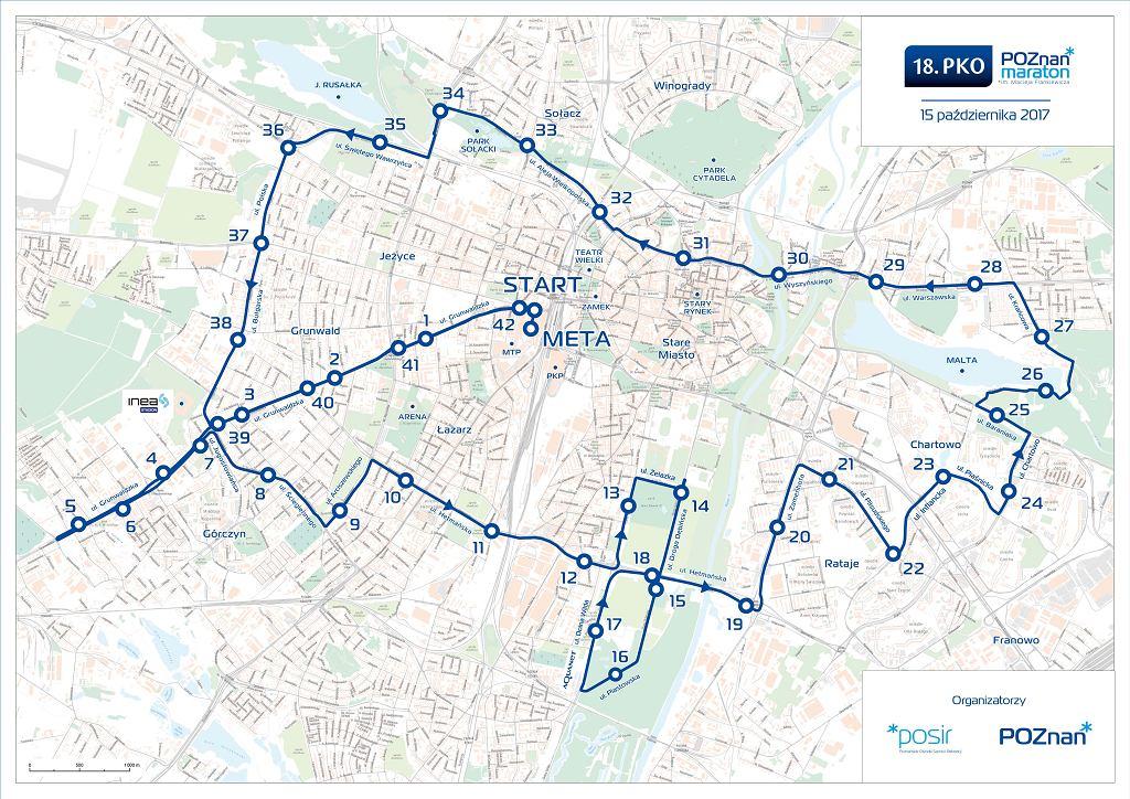 mapa 18.PKO Poznań Maratonu