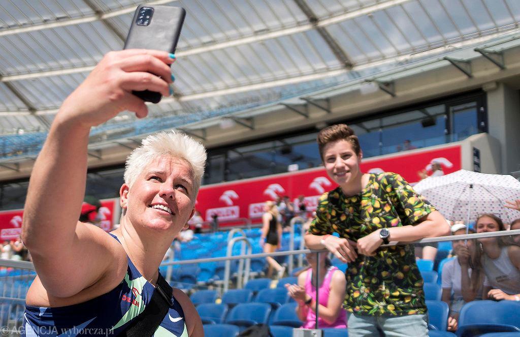 Anita Włodarczyk w czasie Memoriału Janusza Kusocińskiego na Stadionie Śląskim, 20 czerwca 2021 r.