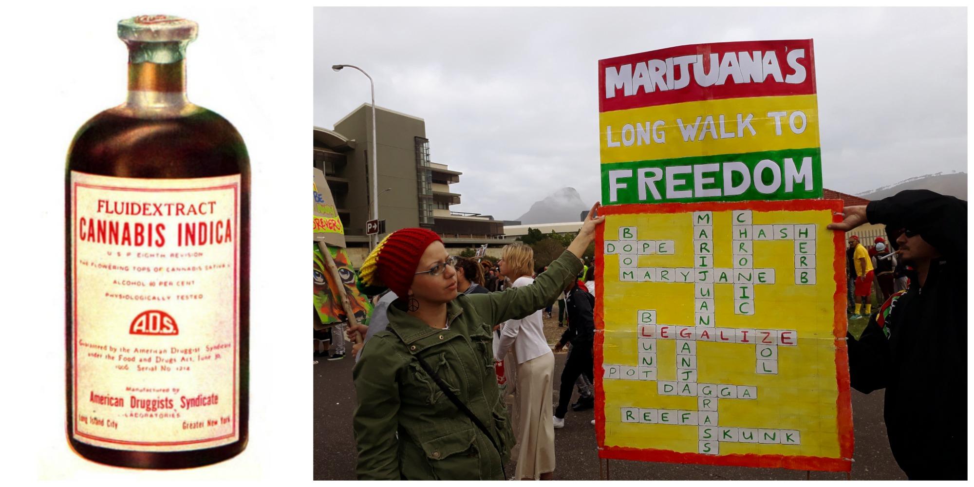 Po lewej płynny ekstrakt konopi indyjskich produkowany w USA przed 1937 r. Po prawej demonstracja aktywistów domagających się legalizacji marihuany w Cape Town, w Południowej Afryce (fot. Wikimedia.org / Domena publiczna / AWildAppeared / Wikimedia.org / CC0)