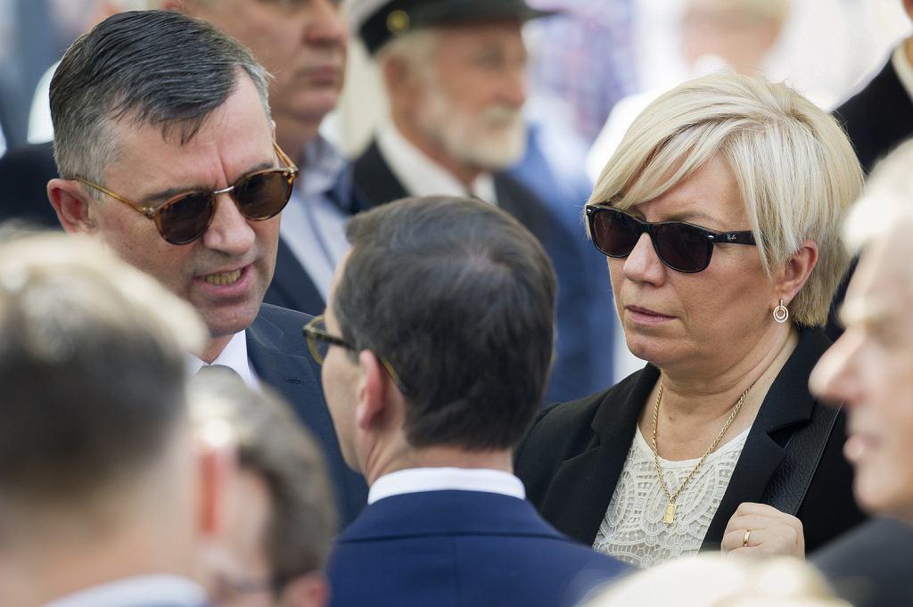 Ambasador RP w Niemczech Andrzej Przyłębski wraz z małżonką, prezes TK Julią Przyłębską podczas uroczystości odsłonięcia pomnika Lecha Kaczyńskiego. Szczecin, 16 czerwca 2018