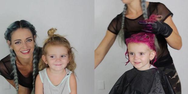 """Pofarbowała 2-letniej córce włosy na ostry róż, """"bo chciała"""". """"A za rok co? Tatuaż na całe ramię?"""""""