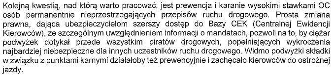 List PIU do Premier Beaty Szydło w sprawie ubezpieczeń OC