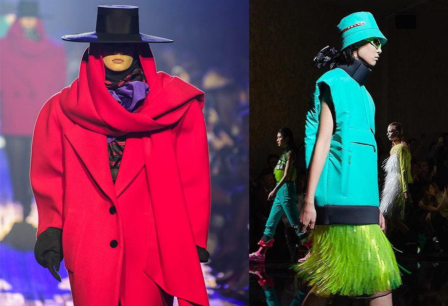 Kapelusze 2019 - kolekcja Marc Jacobs (po lewej) i Prada (po prawej)