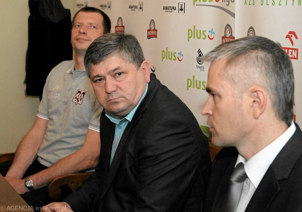 Konferencja prasowa w Kortowie. Od lewej Krzysztof Stelmach, Andrzej Koncicki, Tomasz Jankowski