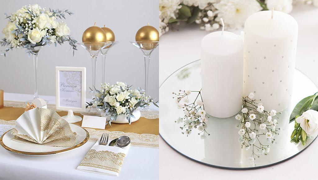 Dekoracje komunijne: bieżnik flizelinowy złota koronka, lustro pod świece okrągłe