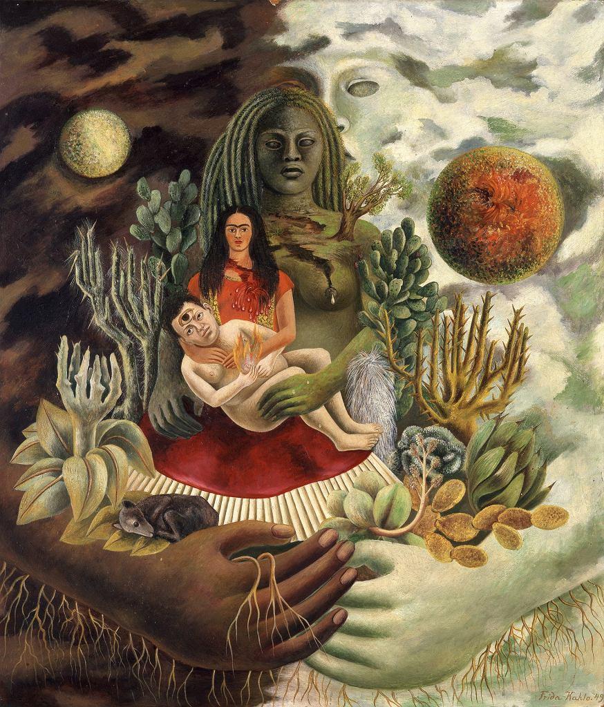 'Frida Kahlo i Diego Rivera. Polski kontekst' - CK ZAMEK w Poznaniu: Frida Kahlo, Miłosny uścisk wszechświata, Ziemia (Meksyk), Ja, Diego i Pan Xolotl / The Love Embrace of the Universe, the Earth (Mexico), Me, Diego and Se?or Xolotl, 1949, The Jacques and Natasha Gelman Collection of Mexican Art, the Vergel Foundation and the Tarpon Trust  2017 Banco de México Diego Rivera Frida Kahlo Museums Trust, Mexico, D.F. / Artists Rights Society (ARS), New York
