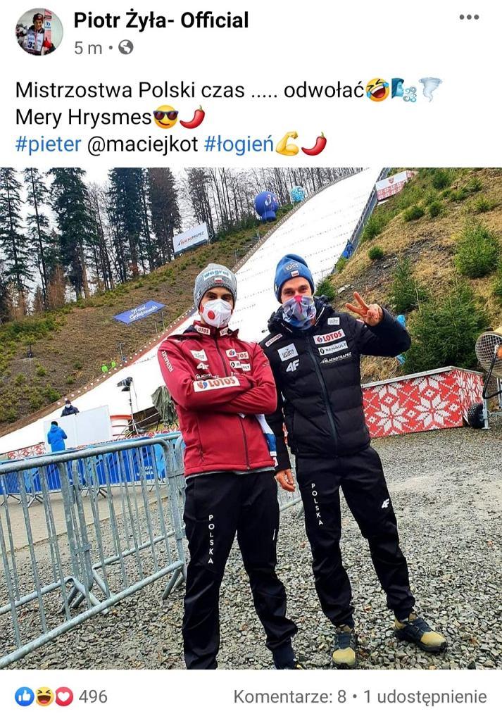 Post Piotra Żyły przed mistrzostwami Polski