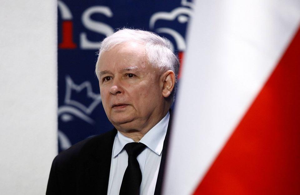 Jarosław Kaczyński w siedzibie partii przy ulicy Nowogrodzkiej w Warszawie