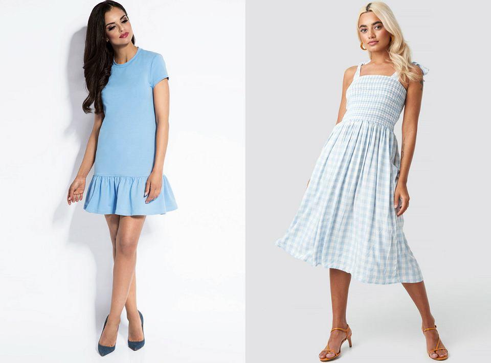 Błękitne sukienki rozkloszowane