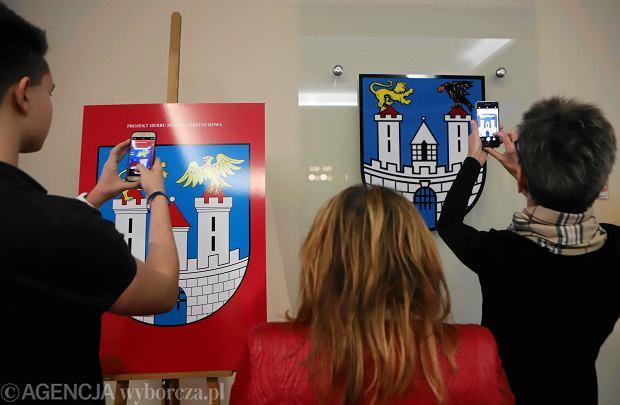 Częstochowa, ratusz, 14 grudnia 2017 r. Prezentacja nowego herbu miasta