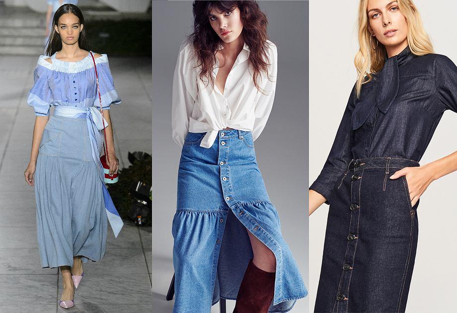 Najmodniejsze spódnice na rok 2018 - spódnica jeansowa