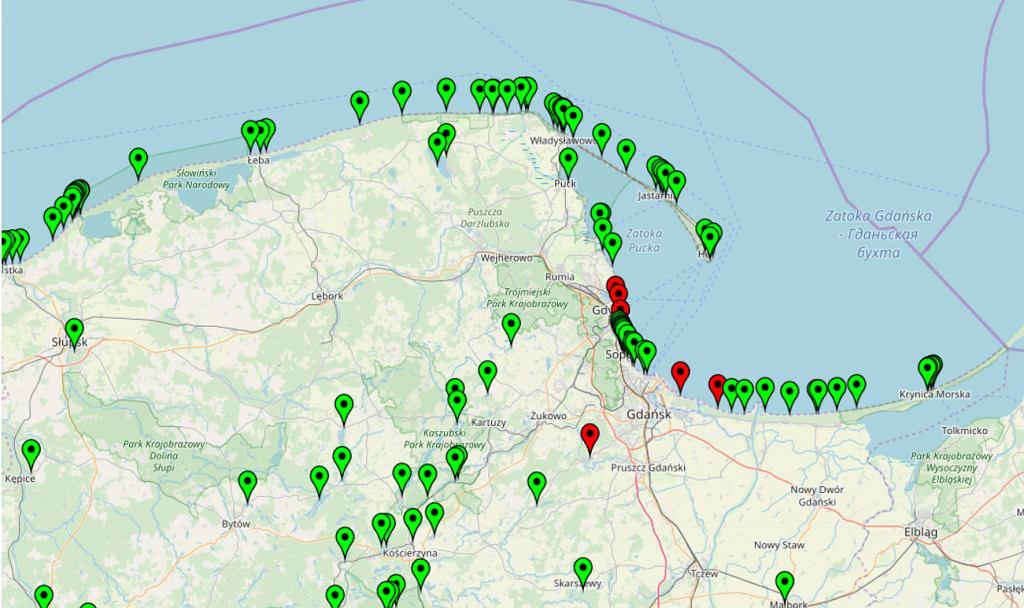 Mapa aktualnie zamkniętych plaż na Bałtyku