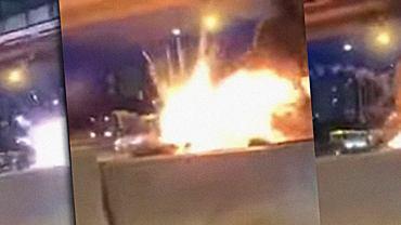 Moskwie doszło do eksplozji samochodu tesla, który brał udział w kolizji