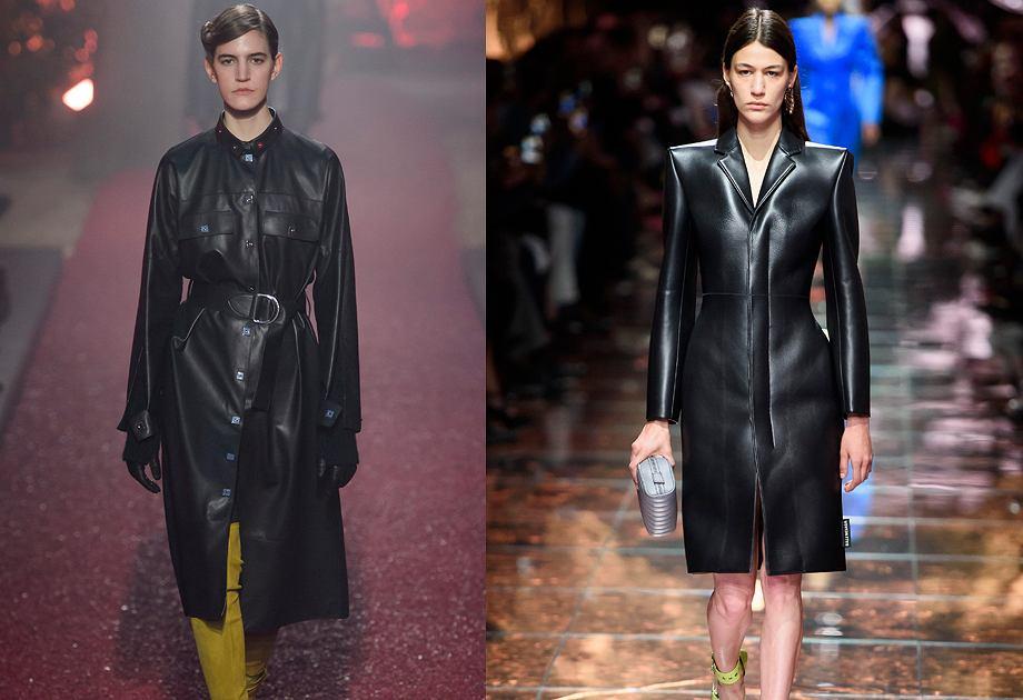 Skórzany płaszcz królował w kolekcjach m.in. Hermes i Balenciaga