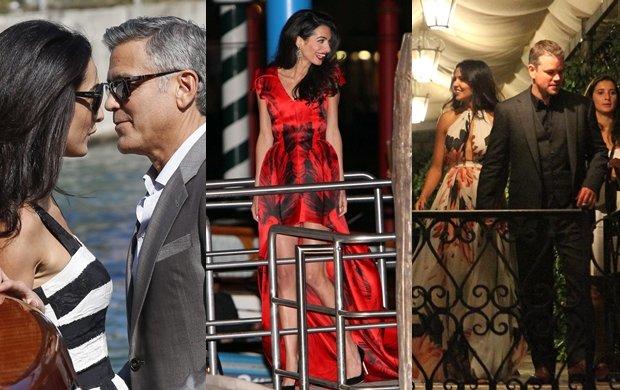 Amal Alamuddin, George Clooney i Matt Damon z żoną