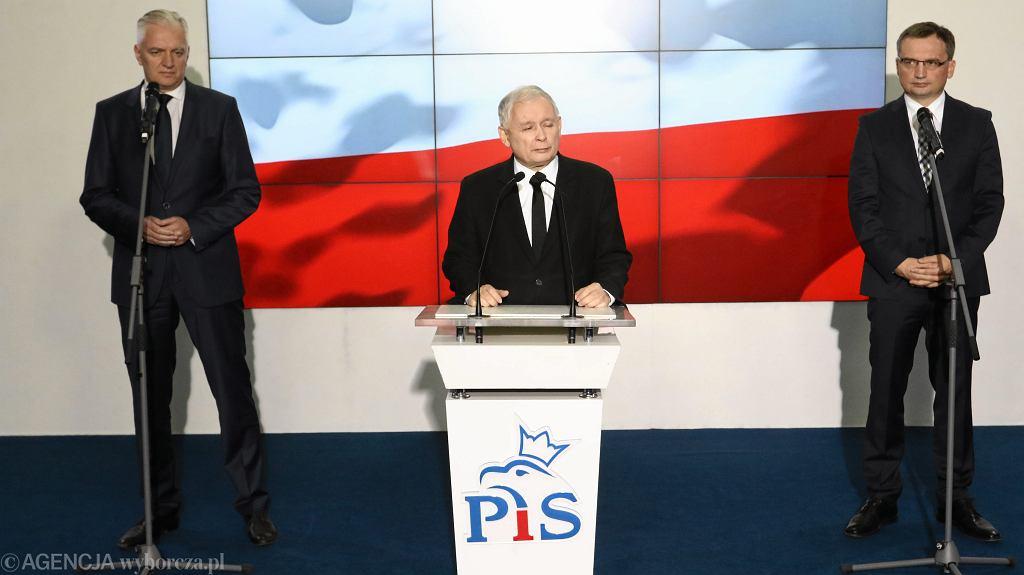 Jarosław Kaczyński, Zbigniew Ziobro, Jarosław Gowin, 21.10.2017 r.