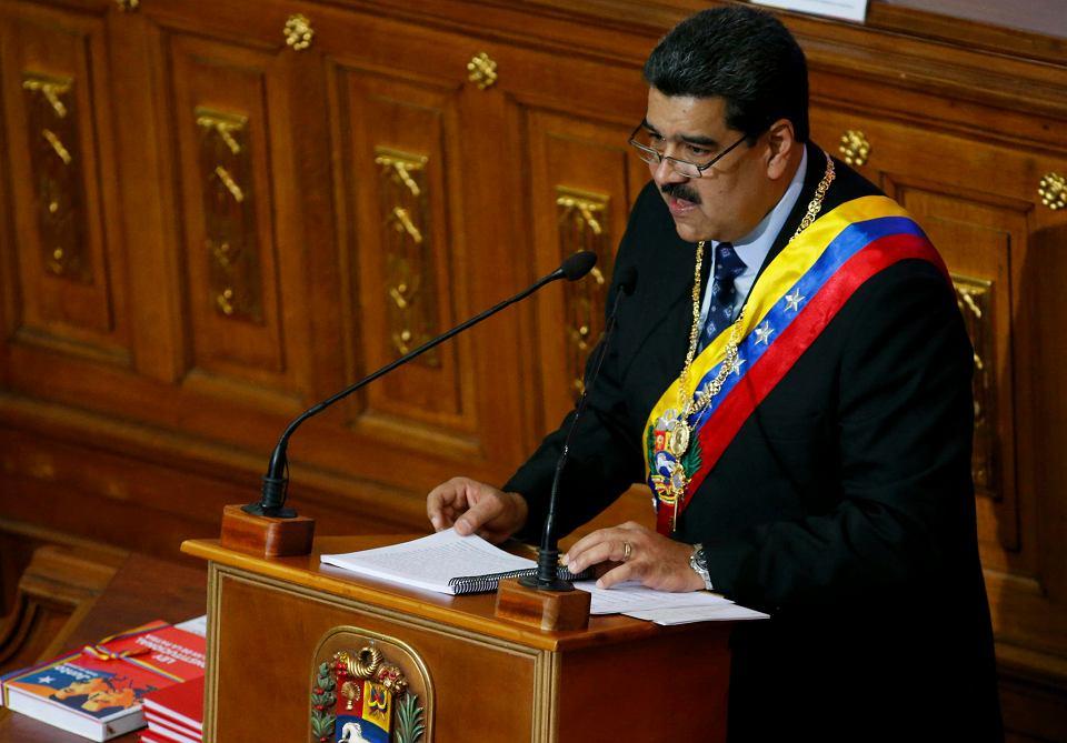 Prezydent Nicolas Maduro podczas wystąpienia przed posłusznym mu zgromadzeniem konstytucyjnym, Caracas, 14 stycznia 2019 r.