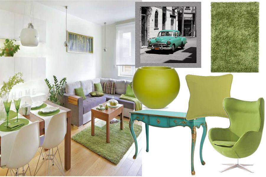 Zielone dodatki do salonu
