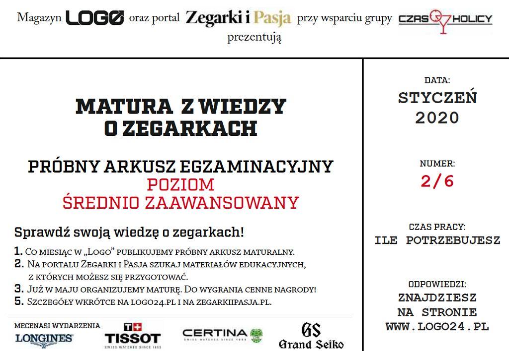 Matura z wiedzy o zegarkach - 2. edycja, arkusz 2