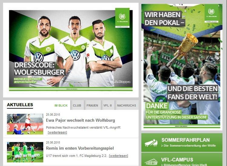 Strona internetowa VfL Wolfsburg