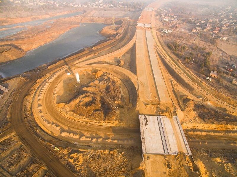 Budowa autostrady A1 w okolicach Częstochowy. Odcinek 'F'. Zdjęcie z lutego 2019