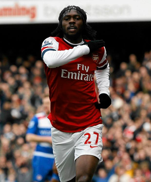 Arsenal's Gervinho celebrates scoring a goal during the English Premier League soccer match between Arsenal and Reading at the Emirates Stadium in London, Saturday, March 30, 2013. (AP Photo/Kirsty Wigglesworth) SLOWA KLUCZOWE: XPREMIERX