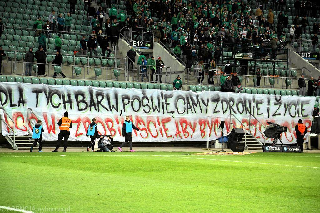 Transparent na meczach Śląska
