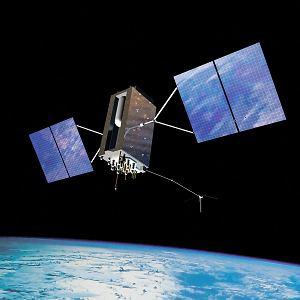 Grafika przedstawiająca satelitę amerykańskiego systemu nawigacyjnego GPS