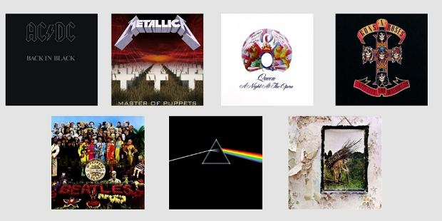 'Back In Black' AC/DC, 'Master Of Puppes' zespołu Metallica oraz 'A Night At The Opera' Queen, 'Appetite For Destruction' Guns N' Roses, 'Sgt. Pepper's Lonely Hearts Club Band' The Beatles, 'The Dark Side Of The Moon' Pink Floyd oraz 'IV' Led Zeppelin.
