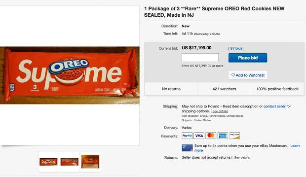 17 tysięcy dolarów za paczkęciastek Oreo