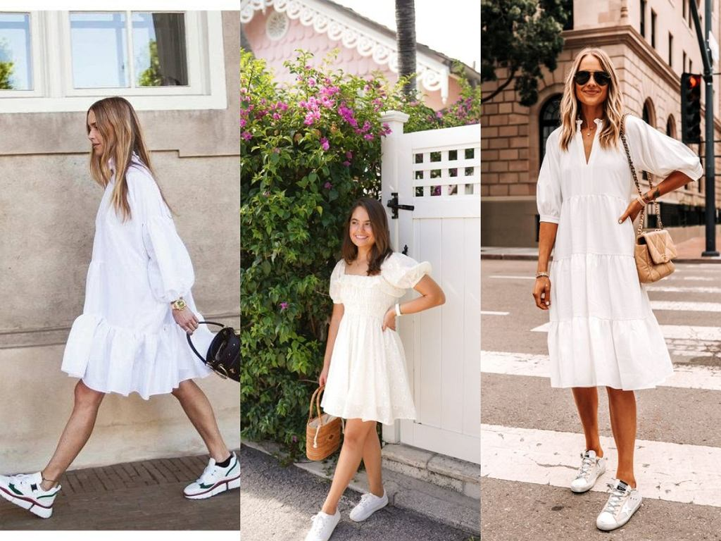 Białe tenisówki do białej sukienki