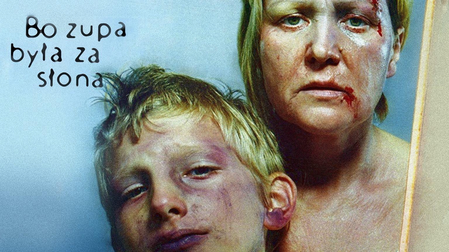Fragment plakatu promującego kampanię 'Powstrzymać przemoc domową' z 1997 r.