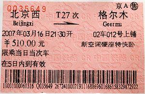 Podróż pociągiem z Pekinu do Tybetu, azja, podróże, Bilet na T27 wygląda jak każdy inny.