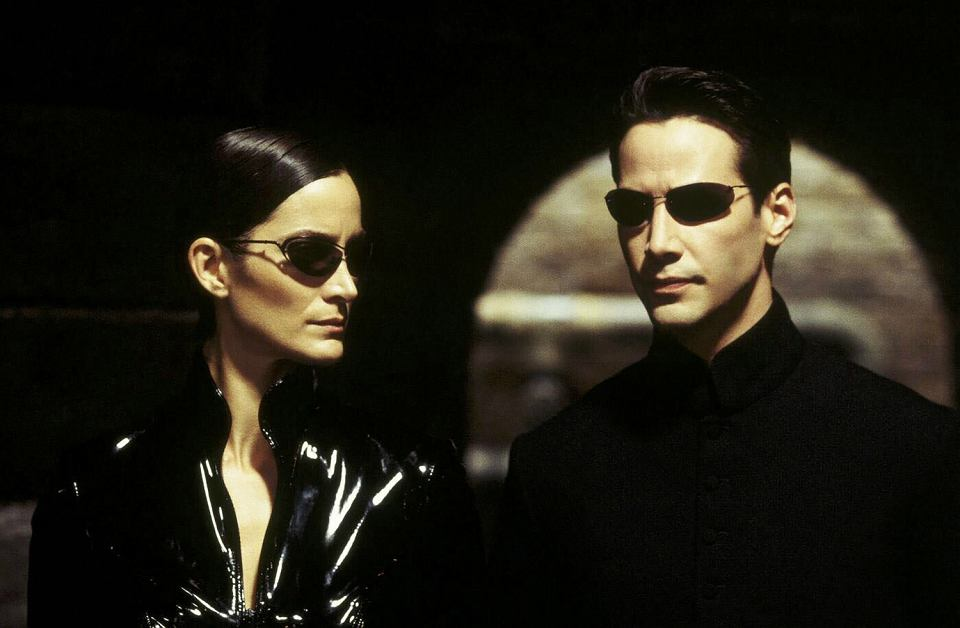 Trinity (Carrie-Anne Moss), Neo (Keanu Reeves), 1999 r., 'Matrix'