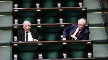 Prezes Jarosław Kaczyński i minister nauki i szkolnictwa wyższego Jarosław Gowin