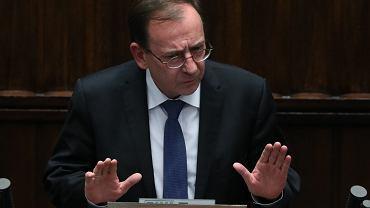Debata nad wotum nieufności dla ministrów w rządzie PiS: spraw wewnętrznych (Mariusz Kamiński, na zdjęciu) i sprawiedliwości (Zbigniew Ziobro). Warszawa, Sejm, 15 lipca 2020